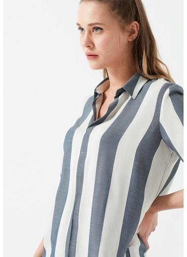 Mavi Çizgili Bluz Gri